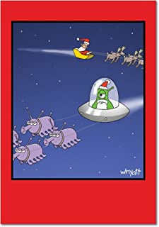 12 'Alien Santa' Boxed Christmas Cards with Envelopes (4.75 x 6.625 Inch), Santa Claus in Outer Space Holiday Notes, Silly Humor, Santa and Alien Christmas Cards, UFO and Santa's Sleigh Cards B1664