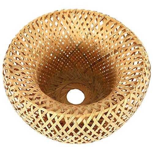 Beyda Pantalla de bambú de mimbre de ratán tejida a mano de doble capa de bambú cúpula pantalla asiática rústica japonesa lámpara diseño