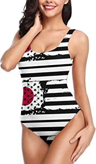 USA Flag Japan Women One Piece Swimsuit Tummy Control Bathing Suit for Women