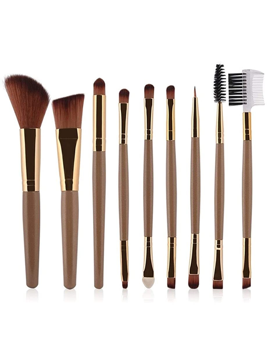 エスニック前者出くわす多機能 メイクブラシ 9本セット 化粧筆 フェイスブラシ フェイシャルメイクアップ 化粧品 美容ツール