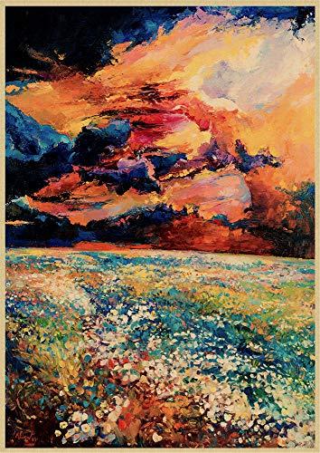 H/L Paisaje De Jardín Mediterráneo Abstracto Cartel Retro Pintura Al Óleo Decoración del Hogar Mural Sin Marco 50X60Cm K10549