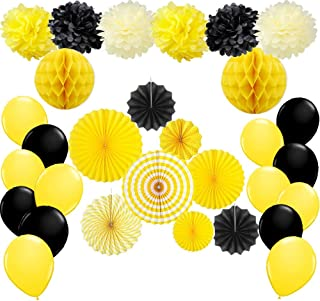 Bumble Bee Party Decoration Baby Shower Birthday Party Supplies Yellow and Black Paper Fan Pom Poms Honeycomb Ball Balloons Set