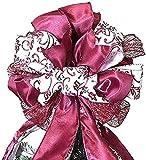 Yoli® Decoración de árbol de Navidad con lazo de malla de satén con purpurina para adornos de Navidad, corona de regalo para decoración del hogar y la oficina (morado y rojo)