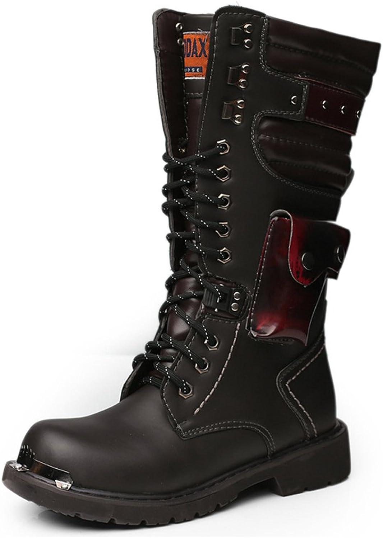 Men's shoes Lace Up Rivet Detail Leather Upper Mid Calf Combat Boots for Gentlemen Run A Size Larger