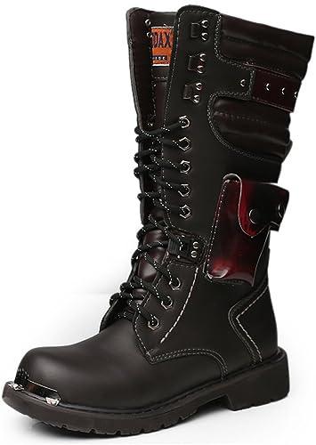 Hommes Chaussures Lacets Rivet détail en Cuir supérieur mi-Mollet Bottes de Combat pour Les Messieurs Courir Une Taille Plus Grande,2018 Chaussures Homme Bottes et bottes