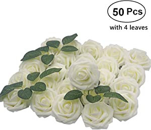 Lmeison Artificial Flower Rose, Christmas Tree Decorative 50pcs Real Looking Artificial Roses w/Stem for Bridal Wedding Bouquets Centerpieces Baby Shower DIY Party Home Decor, Ivory