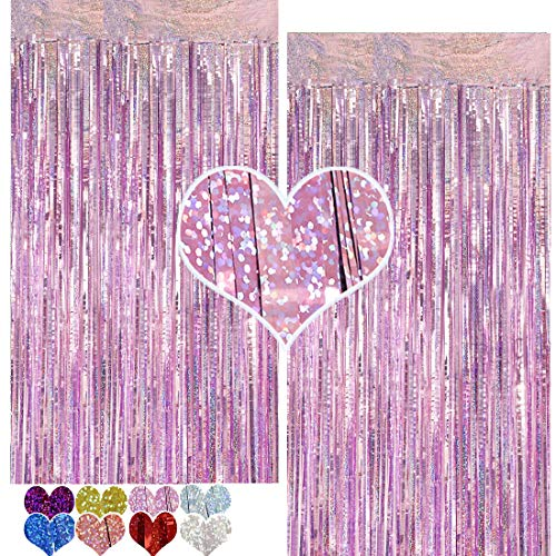 CYLMFC Foil Curtains Backdrop Light Purple - 2 Packs 3ftx8ft Sparkle Tinsel Backdrop for Birthday Party Supplier Bridal Shower Mermaid Party Decorations