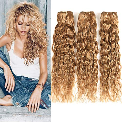 XCCOCO Honey Blonde Water Wave Human Hair 3 Bundles(10 12 14inch) 27# Colored Blonde Wet and Wavy Hair 9A Peruvian Curly Human Hair Weave(27#,300g/Lot)