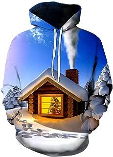 Unisex Christmas Hoodies 3D Print Novelty Xmas Sweatshirts Casual Printed Long Sleeve Pocket Pullover