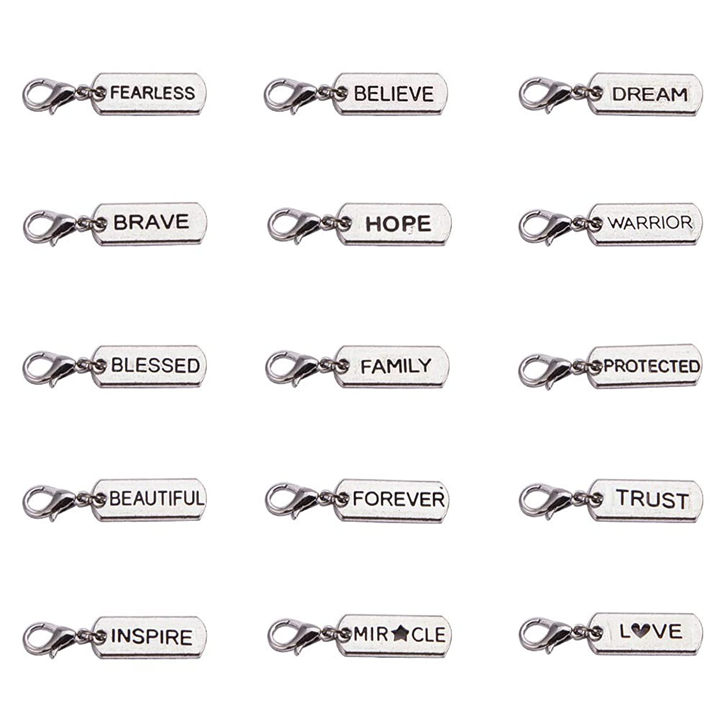 PH PandaHall 30PCS 15 Styles Antique Silver Inspirational Message Charms Pendants Words Beads Charms for Jewelry Making DIY Necklaces & Bracelets