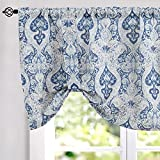jinchan Tie Up Valances for Kitchen Windows Retro Linen Blend Damask Printed Curtains Rod Pocket for Small Windows 20 Inches Long (1 Panel, Blue)