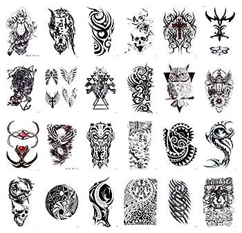 24 sheets evil sugar skull owl large 8.25  half-sleeve arm tattoo cheap wholesale lot