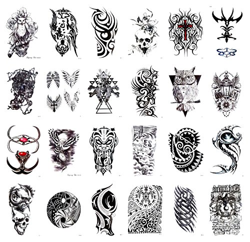 24 sheets evil sugar skull owl large 8.25' half-sleeve arm tattoo cheap wholesale lot