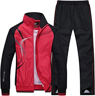 Goorape Men's Athletic Striped Tracksuit Joggers Running Sports Style Sweat Suits Set