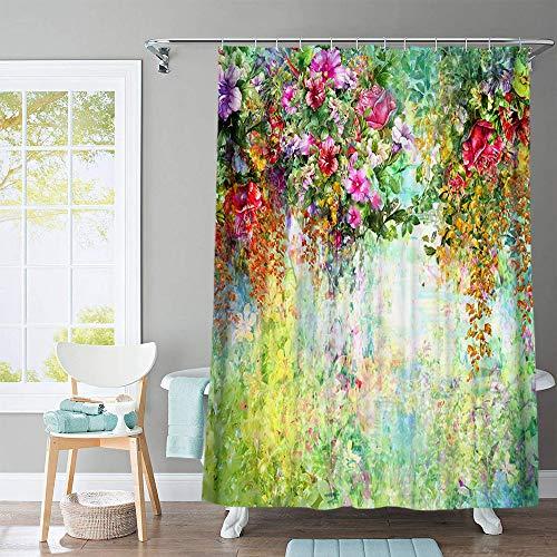 MNIAHGFQW DuschvorhangBöhmischer Duschvorhang Bunte Blumen Vögel Schmetterlinge Muster Frabic Badezimmer Gardinen mit 12 Haken Badewanne Dekoration