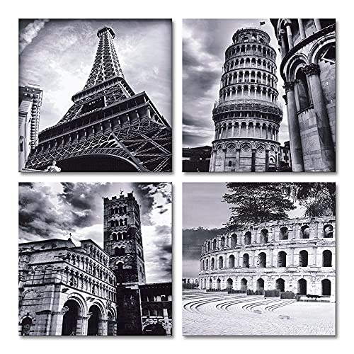 Wieco Art 4 Panels Large Canvas Prints Wall Art Europe Architectures Pictures Paintings for Living Room Kitchen Home Decor Modern Stretched and Framed Giclee Famous Buildings B & W Landscape Artwork