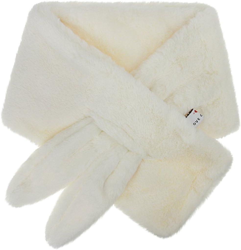 Kids Faux Fur Winter Scarf Thick Plush Neck Wrap Warmer for Boys Girls Age 3-12Y