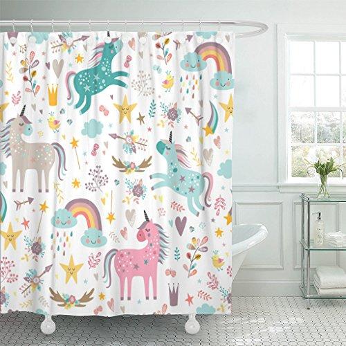 Emvency Shower Curtain Kids Rainbow Blue Pattern...