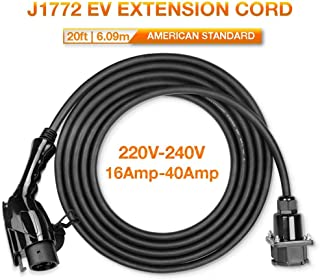 BESENERGY EV Charger Extension Cable 40Amp 220V-240V Charging Cord for Electric Vehicle 20ft 6m Compatible All SAE J1772 Chargers¡