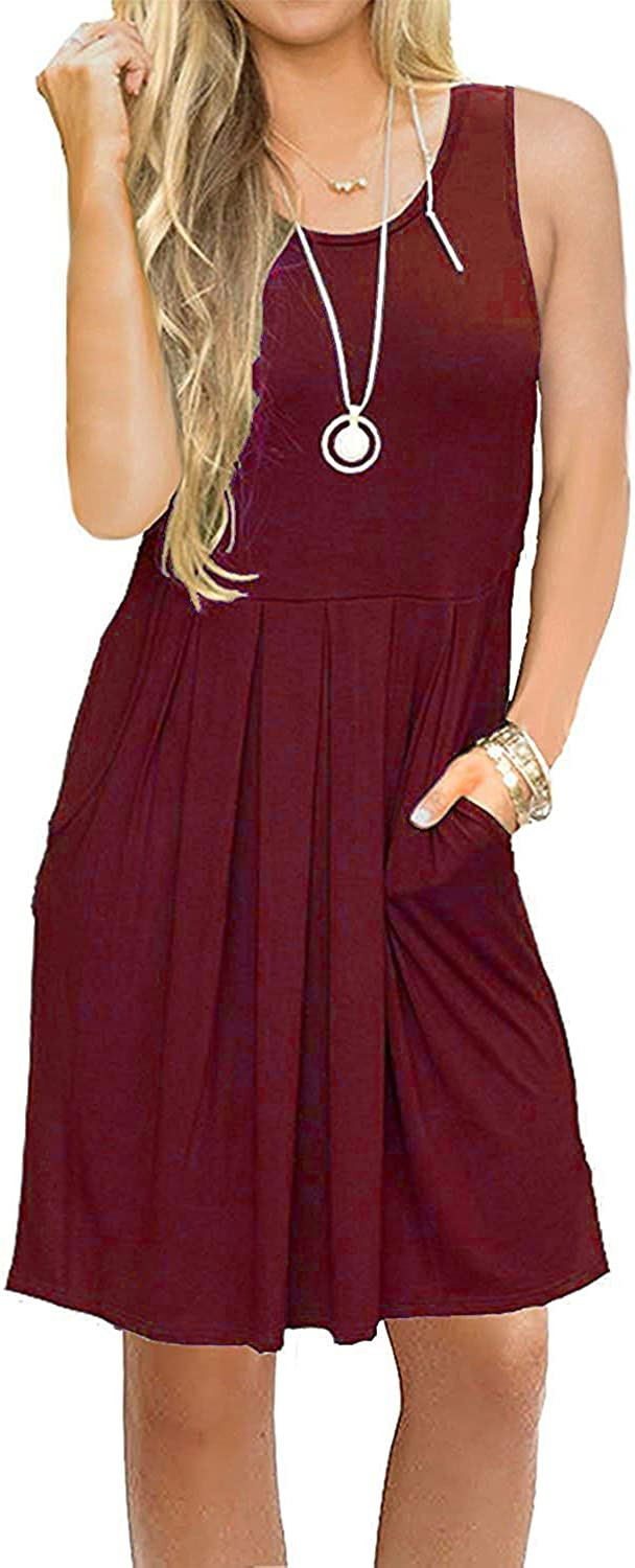 AUSELILY Women's Sleeveless Pleated Loose Swing Casual Dress with Pockets Knee Length