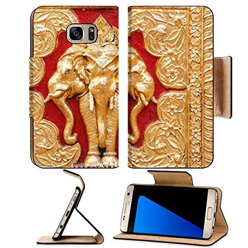 MSD Premium Samsung Galaxy S7 Edge Flip Pu Leather Wallet Case Native Thai style gold painting Erawan IMAGE 18341464