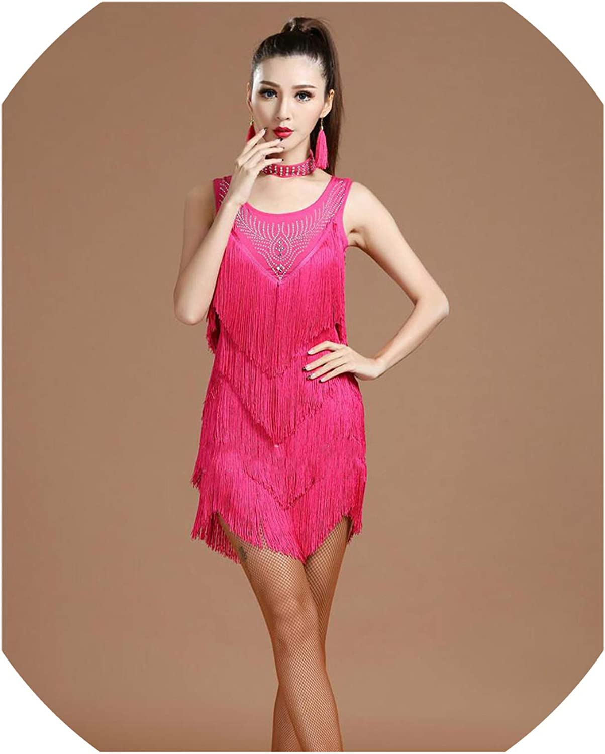 Latin Dance Dress Women Black Lace Club Party Dancer Singer Entertainer Fringe Red Tassel,