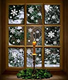 Moon Boat 272PCS Christmas Snowflakes Window Clings Decals Winter Wonderland Decorations Ornaments Party Supplies (7 Sheets)
