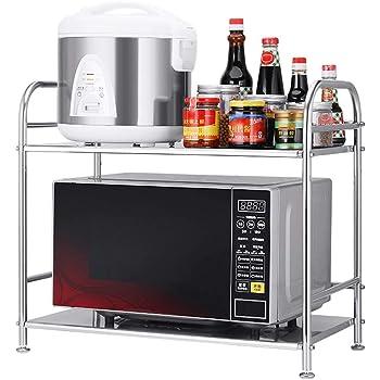 horno estante para colgar en la pared estante de piso cocina para arroz microondas Estante de cocina de acero inoxidable para montar en la pared