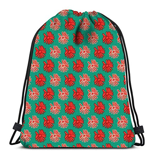 Lmtt Drawstring Bags Backpack Red And Peach Colorful Daisy Flower With Green Travel Gym Bags Rucksack Shoulder