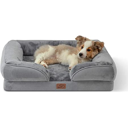 Bedsure Orthopedic Dog Bed, Bolster Dog Beds for Medium Dogs - Foam Sofa with Removable Washable Cover, Waterproof Lining and Nonskid Bottom Couch, Pet Bed