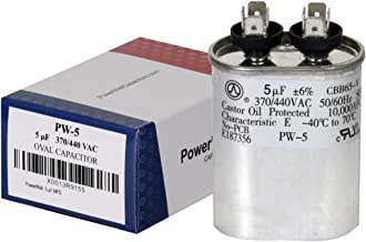 PowerWell 5 uf MFD 370 or 440 VAC Oval Run Capacitor PW-5 for Fan Motor Blower Condenser in Air Handler Straight Cool or Heat Pump Air Conditioner - Guaranteed to Last 5 Years