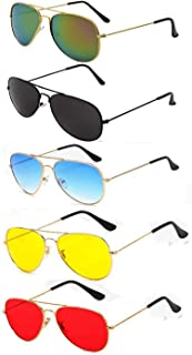 magjons Men's Aviator Sunglasses - Combo of 5 (Multicolour , Medium )