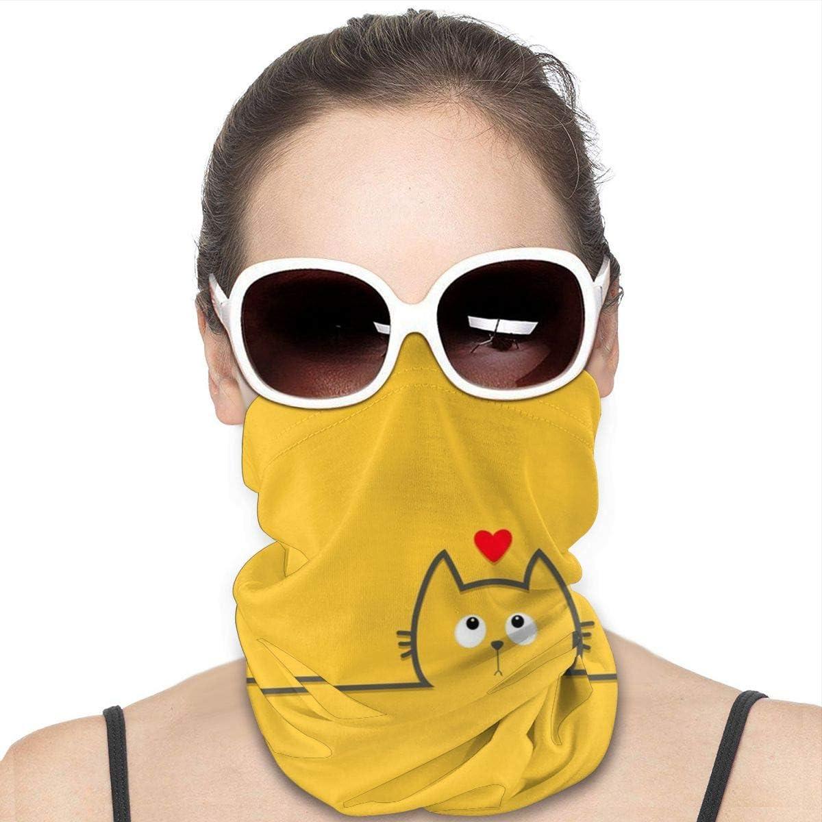 KiuLoam Women Bandanas Face Mask, Cute Cat with Little Heart Neck Gaiter Mask Headband for Men Face Scarf Dust, Outdoors, Sports