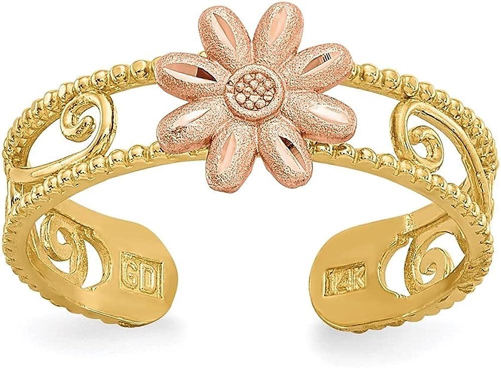Diamond2Deal 14k Yellow Gold Two-Tone Flower Toe Ring for Women
