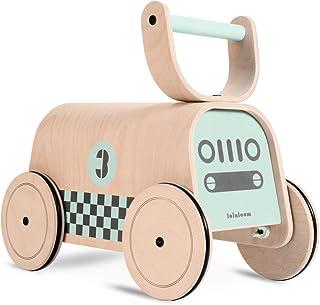 Lalaloom RACER - Andador bebe madera natural color verde diseño coche de carreras correpasillos bebe caminador con ruedas juguete equilibrio niños 47x23x37cm
