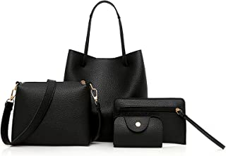 Honiser 4pcs Women Handbag Set Fashion Large Handbag Shoulder Bag Messenger Bag Card Pack purse