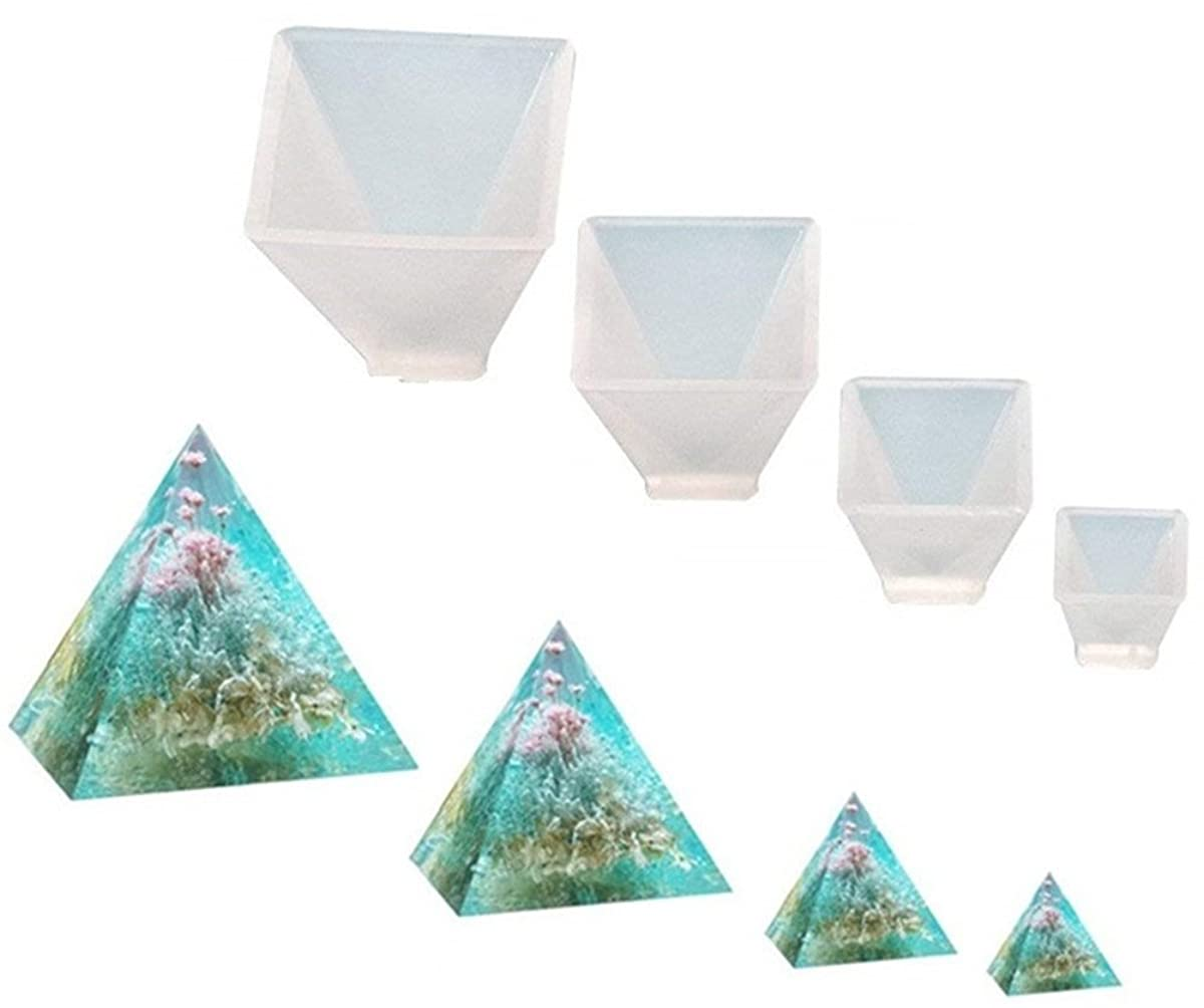 Garloy Pyramid Jewelry Casting Molds Silicone Resin Jewelry Molds for DIY Jewelry Craft Making, The Multi-Faceted Silicone Mold for Making Polymer Clay, Crafting, Resin Epoxy(Pack of 4)
