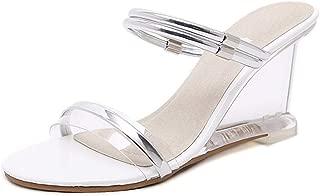 Women Slippers Summer Shoes High Heels PVC Transparent Peep Toe Wedges Sandals Woman Clear Sliver Plus Size Party Shoes DE