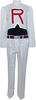 Team Rocket James White Uniform Outfit Game Anime Cosplay Costume