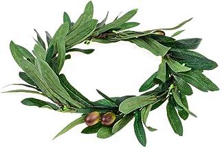 Floral Fall Artificial Olive Leaf Greece Flower Halo Bridal Headpiece Greenery Crown HC-32 (Olive Leaf)