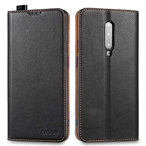 LENSUN Echtleder Hülle für OnePlus 7 Pro, Leder Handyhülle Magnetverschluss Kartenfach Handytasche kompatibel mit OnePlus 7 Pro (6,65 Zoll) – Schwarz(I7P-DC-BK)