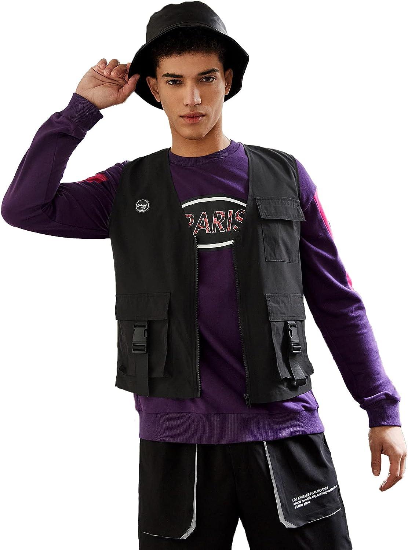 Milumia Men's Patch Detail Flap Pocket Vest Jacket