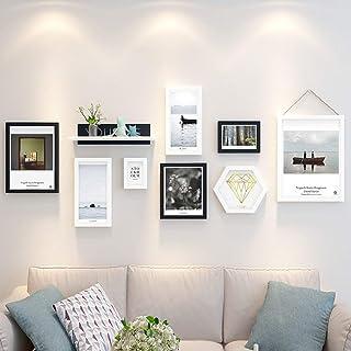 JY Conjunto de marcos de fotos de madera en el centro comercial residencial montado en la pared- Marcos de fotos modernos ...