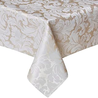 TEKTRUM 70 X 70 inch Square Damask Jacquard Tablecloth Table Cover - Waterproof/Spill Proof/Stain Resistant/Wrinkle Free/Heavy Duty - Great for Banquet, Parties, Dinner, Kitchen (70
