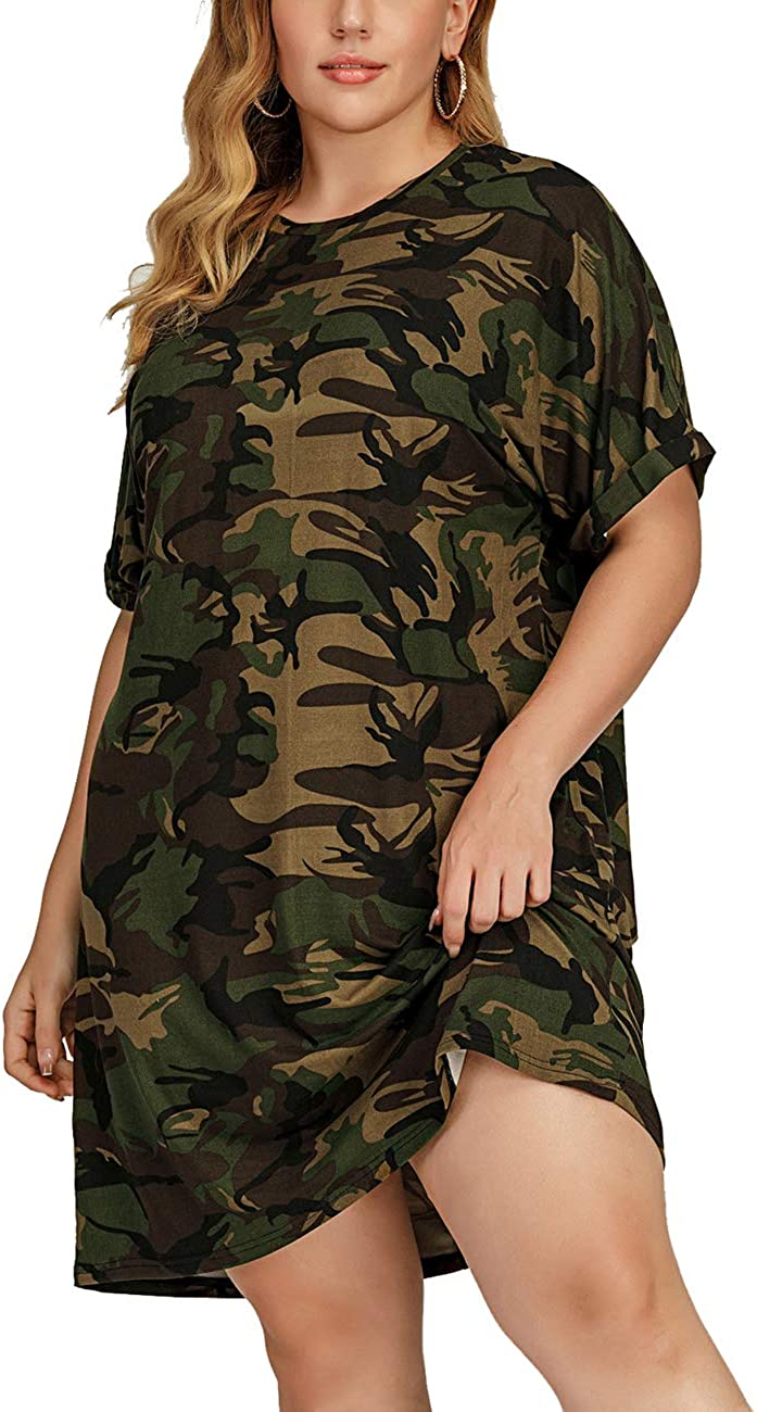 HEARTISIAN Women Plus Size Camo Tunic Dress Short Sleeves Camouflage Casual Relaxed T Shirt Dresses