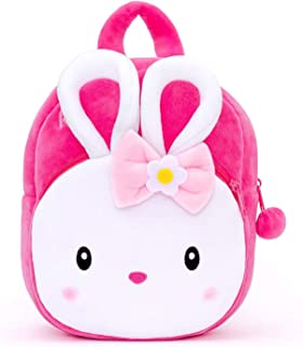 Blue Tree Cute Kids Backpack Toddler Bag Plush Animal Cartoon Mini Travel Bag for Baby Girl Boy 1-6 Years (KONGGI Rabbit)