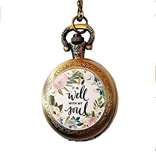 Wisdom Bible Verse It is Well with My Soul Lettering Pocket Watch Necklace,Women Men Christian Jewelry Gifts