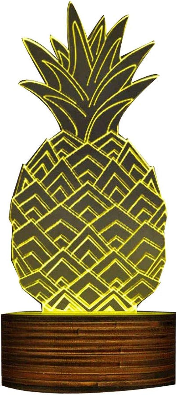 ZHJXQD 3D dekoratives Nachtlicht 3D Ananas Form Kreatives Design LED Nachtlicht, Sleepy Nachtlampe Moderne Handgemachte USB Lampe Ananas Obst Geschenkidee Emotionales Nachtlicht
