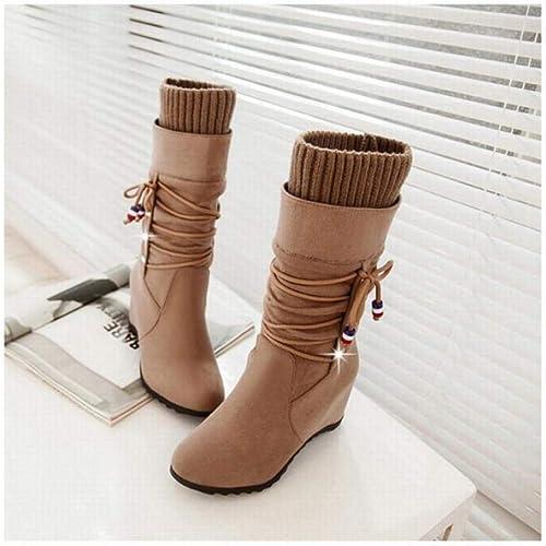 Fuxitoggo Chaussures pour pour pour Femmes - Bottes Hautes de Taille Basse pour Femmes Fond Plat, Bottes pour Les Les dames, mi-Bottes, Bottes élastiques 35-43 (Couleuré   Buff, Taille   43) d19