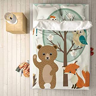 Kids Practical 4 Piece Bedding Set,Hello Baby Arrival Funny Hedgehog Bee Owls Birds on Tree Bear Fox Animals Themed Party Home Decor for Indoor,One Side Print : Queen